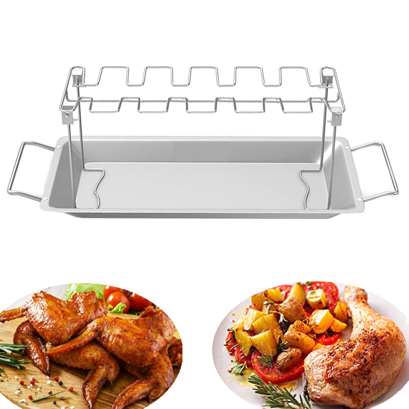 Stainless Steel Chicken Wing Leg Rack Grill Holder with Drip Pan for Cooking BBQ SLC88