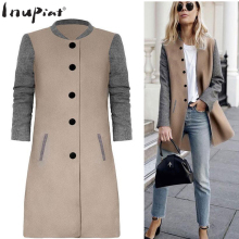 INUPIAT 2017 New Style Women's Trench Coat High Quality Pacthwork Coats for Woman Single Breasted Full Sleeve Coat for Female