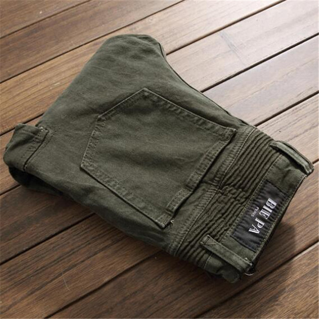 Brand New Fashion High Street Punk Jeans Men Big Pocket Cargo Pants Army Green Military Trousers Multi Zippers Biker Jeans Homme
