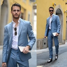 2019 Light Blue Mens Latest Skinny Formal Suits Men Business Casual Prom Male Street Fashion Costume Jacket Pants