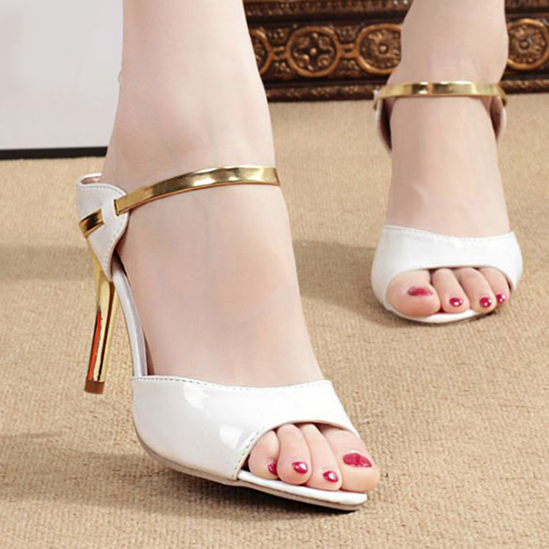 LAKESHI High Heels Sandals Ankle-Wrap Women Sandals Beautiful Ladies Sandals Summer Shoes Gold Sliver