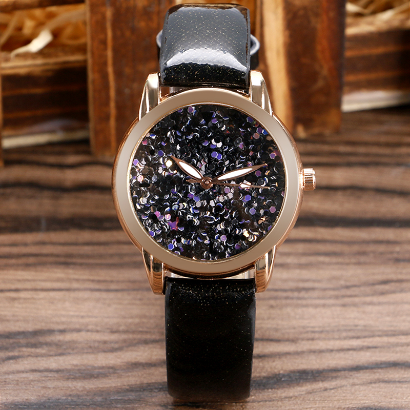 Classic Design Leather Band Black Glitter Bling Bling Dial Women Ladies Wrist Watch Wrsitwatch Dress Watches