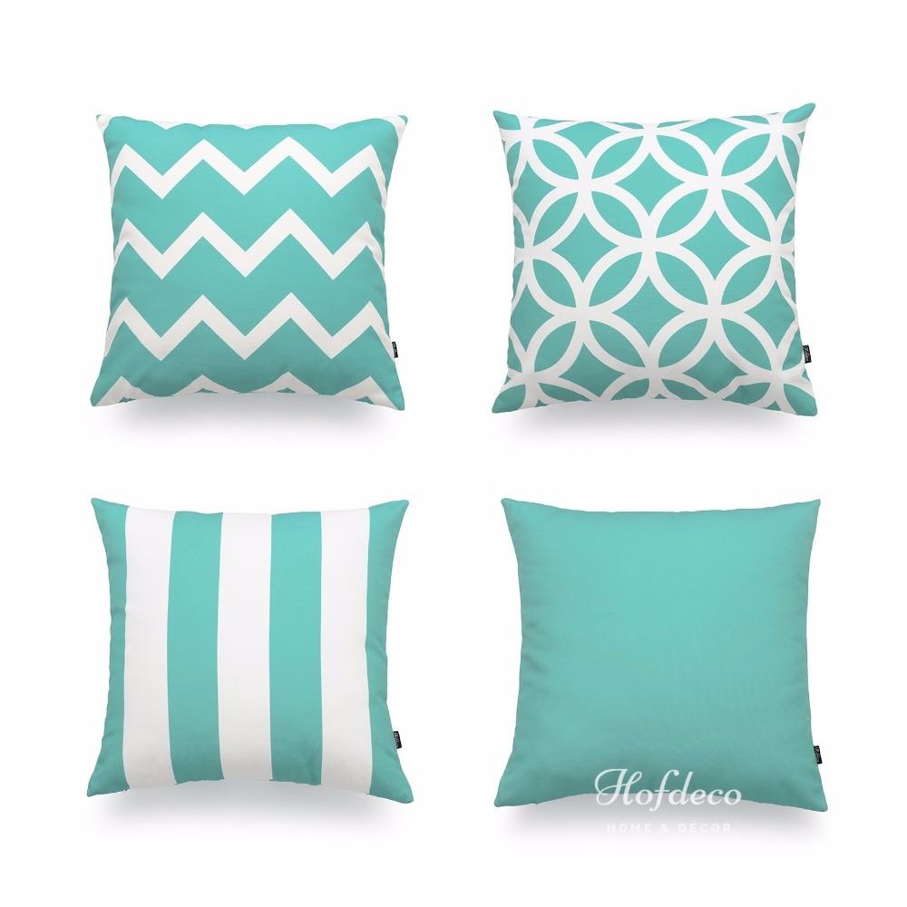 hofdeco decorative throw pillow cover turquoise scandinavian geometric canvas cushion case 45x45cmchina mainland - Turquoise Decorative Pillows