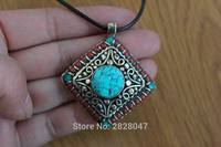 PN918 Vintage Tibetan Big Turquoise Stone Mini Beads Square Pendant Nepal Handmade Jewelry Best Offer