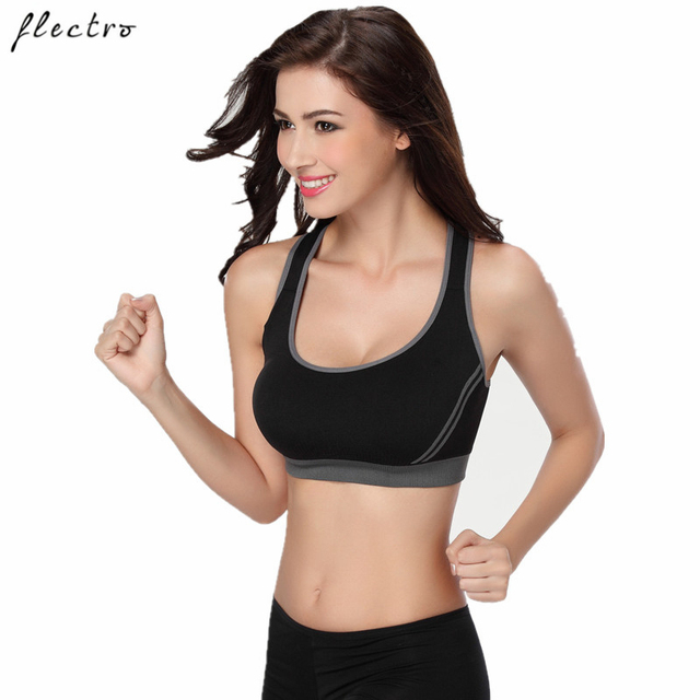 537fc9fe43 Flectro Women Sports Bra Running Fitness Sexy Yoga Bra Seamless Underwear Push  Up Black Pink Sports Bra L006