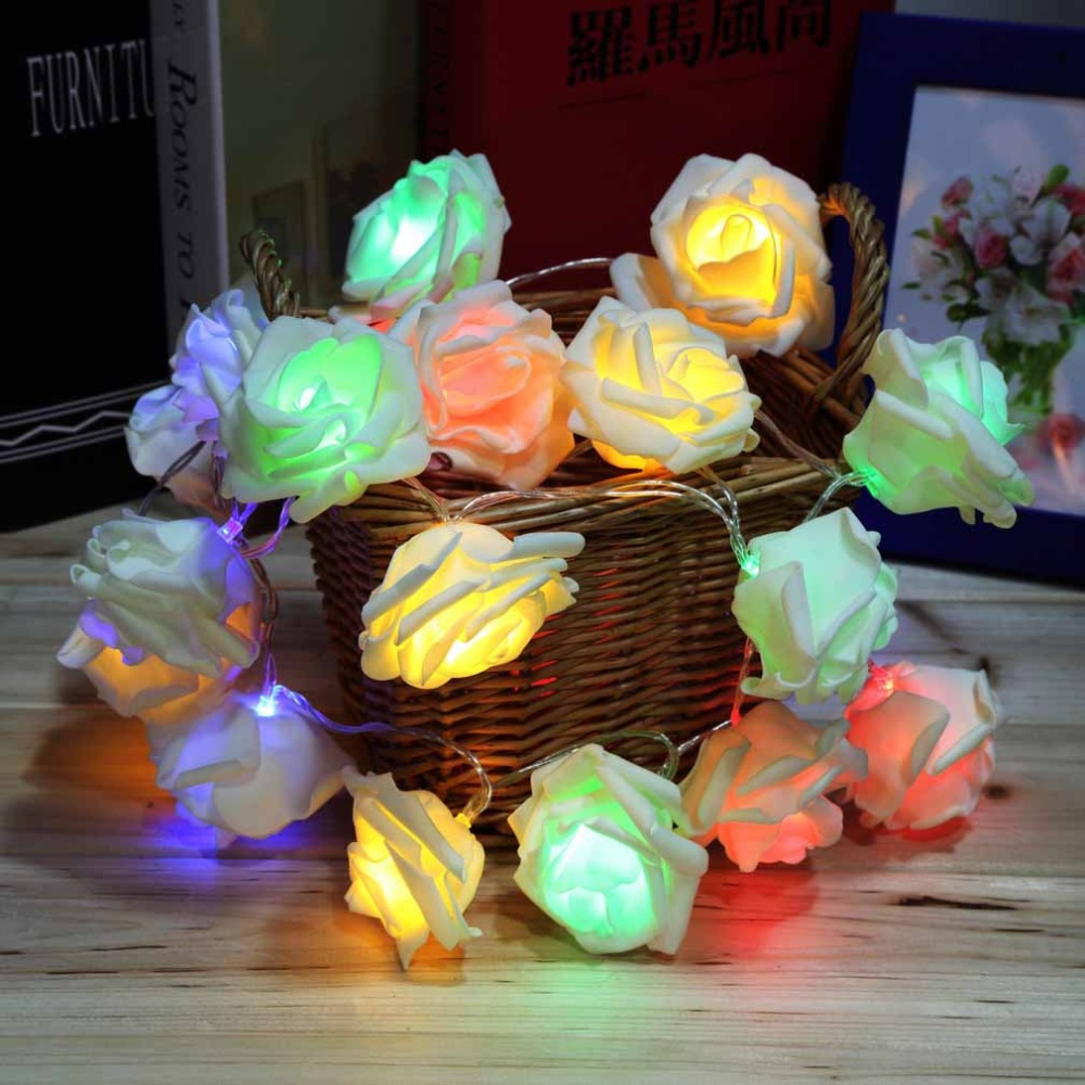 Rose christmas ornament - 4 Colors Fashion Holiday Lighting 20 Led Rose Flower String Lights Fairy Wedding Party Christmas Decoration