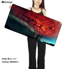 цены Mairuige 900*400*3MM Volcano Eruption Smoke Color Washing Mouse Pad Computer Notebook Gaming Large Rubber Lock Edge Mousepad