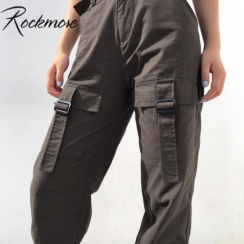 Rockmore 100%Cotton Oversized Cargo   Pants   Women High Waist Streetwear Pocket Trousers   Wide     Leg     Pants   Femme Casual Loose Fashion