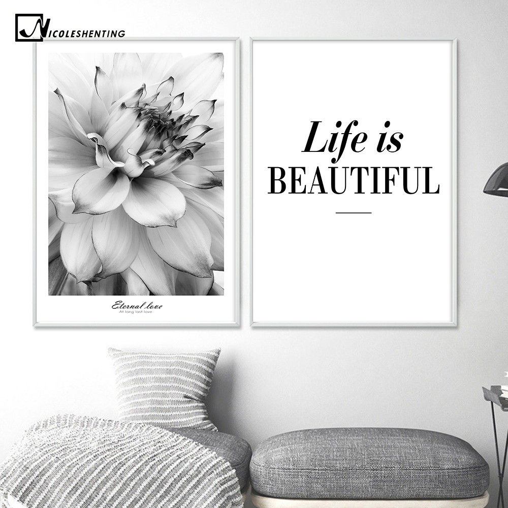 black white flower inspiration poster life quote canvas print rh aliexpress com