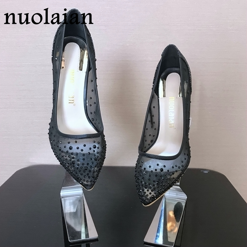 10CM Rhinestone Wedding Shoes Woman Crystal High Heels Pointed Toe High Heel Sandals Shoes Women Pumps Womens Brand Design Sexy brand design womens high heels shallow pump shoes woman sexy wedding pumps women high heel shoes thin heels party dress platform