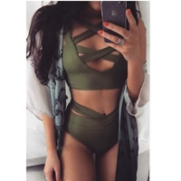 2017 Sexy Criss Cross Bikini Brazilian Bandage Swimsuit Women Push Up Swimwear Bikini Set Wrap Top