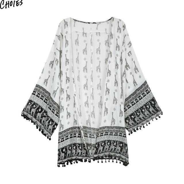 28021e28a5 White Giraffe Printed Pom Pom Tassels Hem Chiffon Kimono Women Longline  Casual Loose Summer Loose Beach Cover Up Cardigan