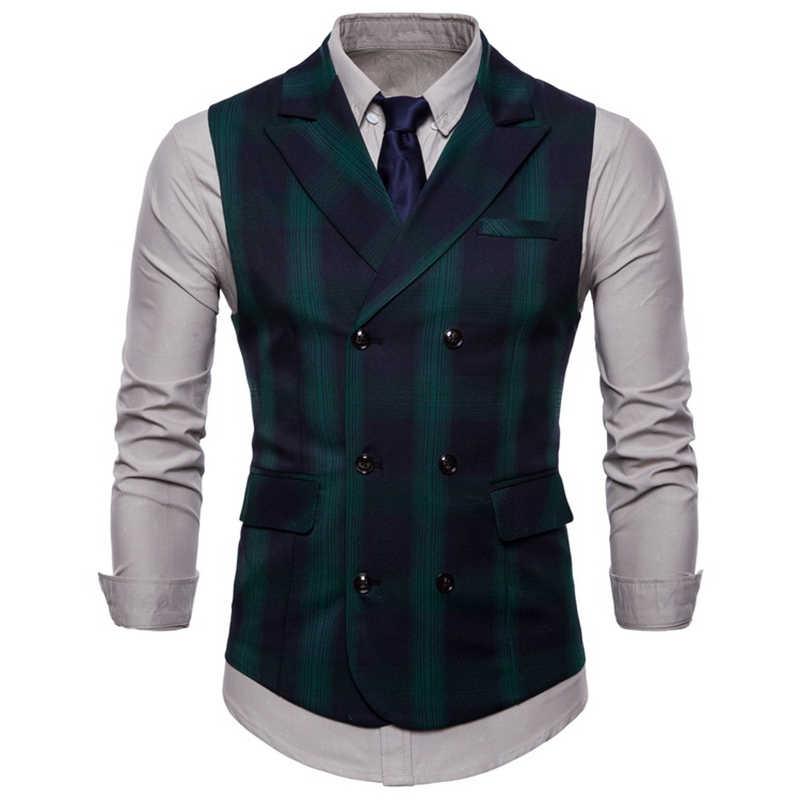 Double Breasted Vest Pak Mannen 2019 Nieuwe Collectie Hoogwaardige heren Casual Plaid Vest Double Breasted Vest