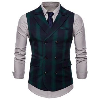 Double Breasted Vest Suit Men 2019 New Arrival High-quality Men's Casual Plaid Waistcoat Double Breasted Vest 2