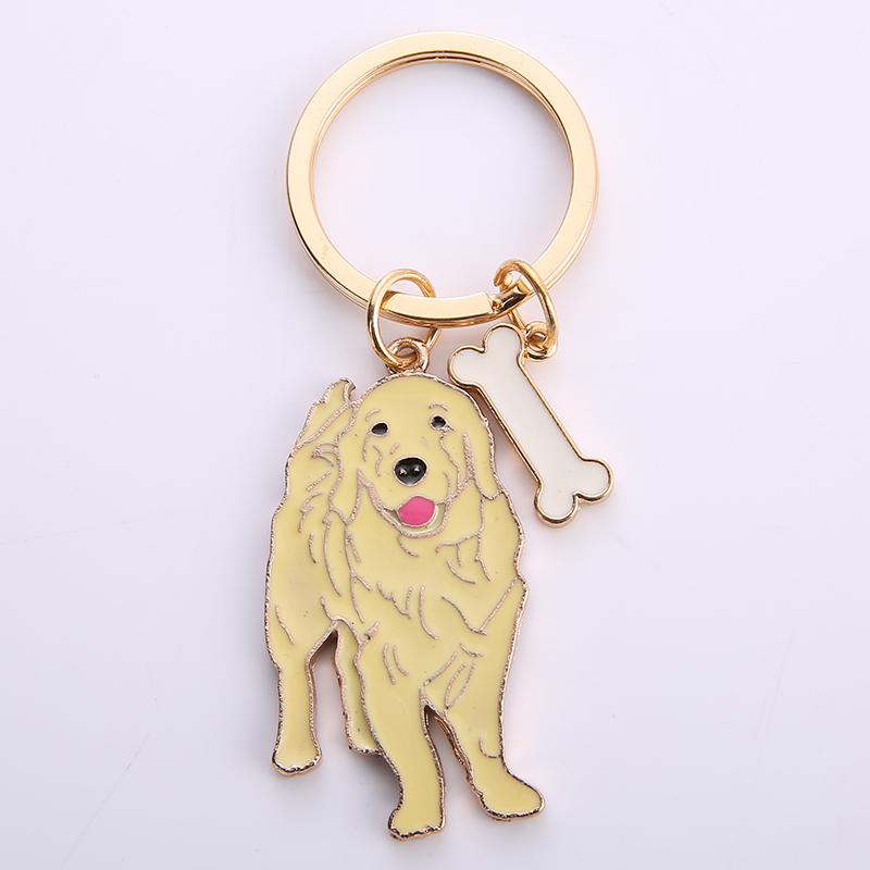 NEW 2019 Golden Retriever Dog Animal Gold Silver Plated Metal Pendant Keychain For Bag Car Women Men Key Ring Love Jewelry GIFTS