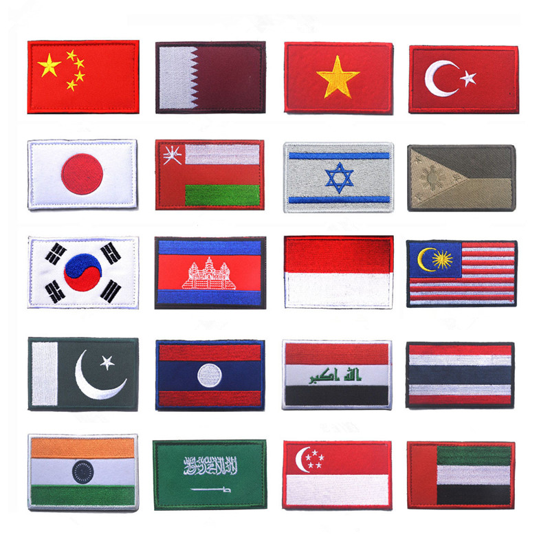 Japan South Korea Tukey Israel Indonesia Cambodia embroidered Thailand Asia Countries flags patch for clothes Embroidered badge