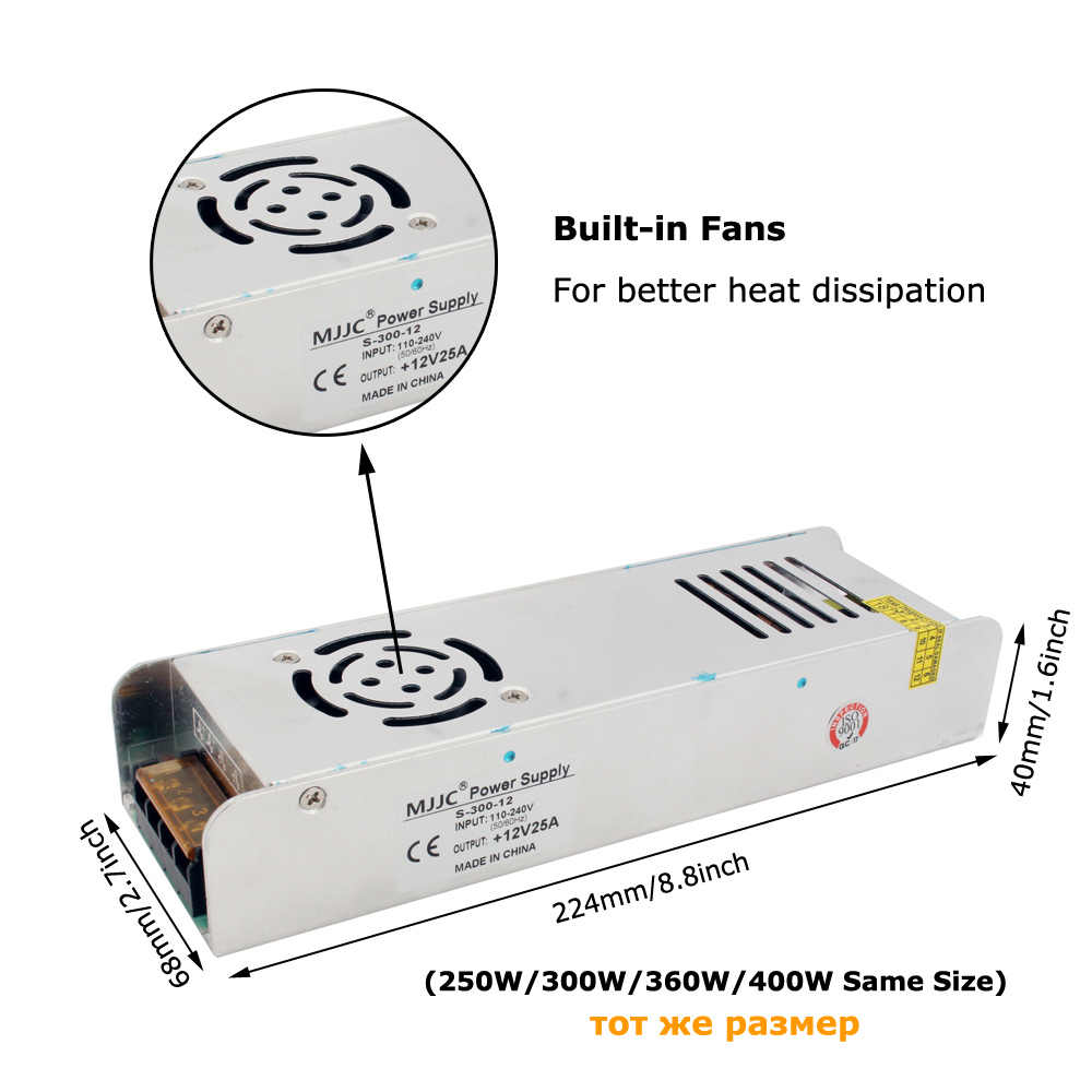 12 zasilacz 110V 220V AC do 12 V 10A 120W 5A 60W 20A 25A 30A zasilacz transformator światła do taśmy LED