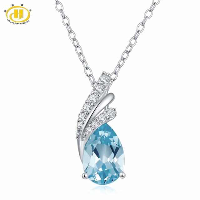 Hutang natural gemstone sky blue topaz pendant necklace solid 925 hutang natural gemstone sky blue topaz pendant necklace solid 925 sterling silver fine jewelry for womens mozeypictures Images