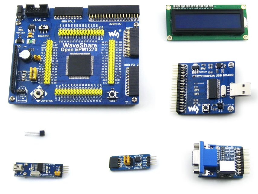 Modules Waveshare OpenEPM1270 Package A Altera MAX II CPLD Development Board EPM1270 + 6 Accessory Module Kits =OpenEPM1270 Pack waveshare vga ps2 board accessory transform test module for vga ps2 control connector blue