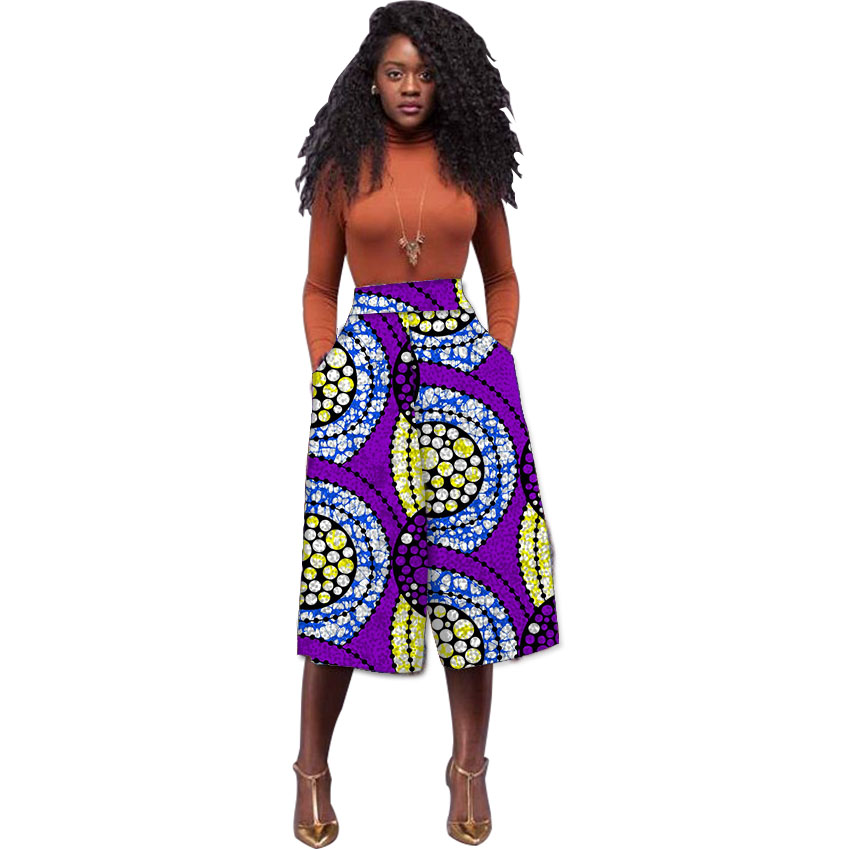 4ad05a0c26 Women African Print Wide Leg Pants Fashion Dashiki Design Cropped Pant  Ladies Loose Ankara Trouser Customize Africa Clothing