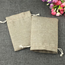 10x14cm fashion natural gifts jute bag Cotton thread Drawstring bags jewelry Packaging Display for Wedding/Party/Birthday pouch(China)