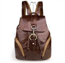 Free Ship 100% Real Leather Genuine School Bag Hiking Backpacks For Teenage Girls  # 7286B