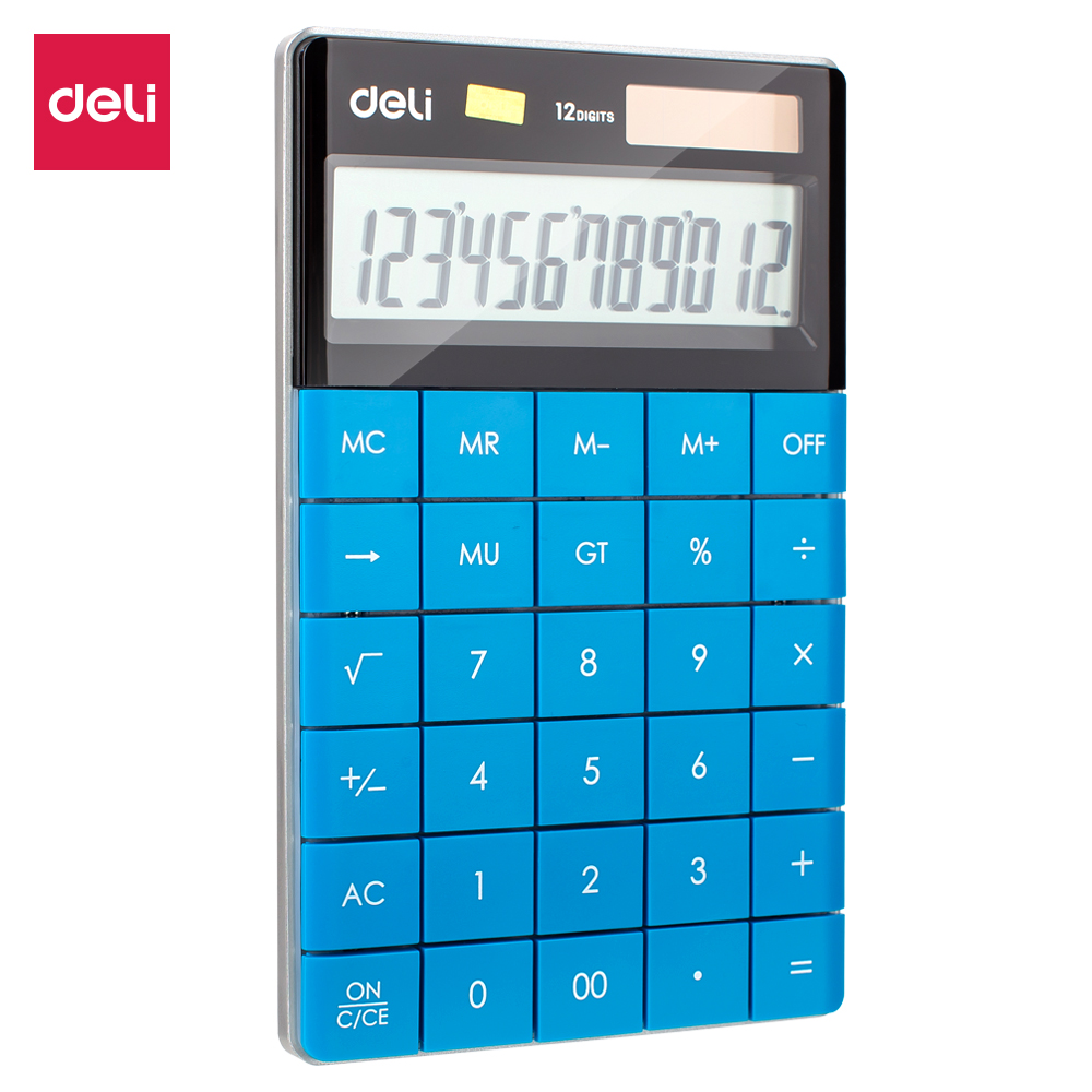 Deli E1589 Calculator - Calculator 12 - Digit - Battery & Solar Dual Power Big Display - 5 Color