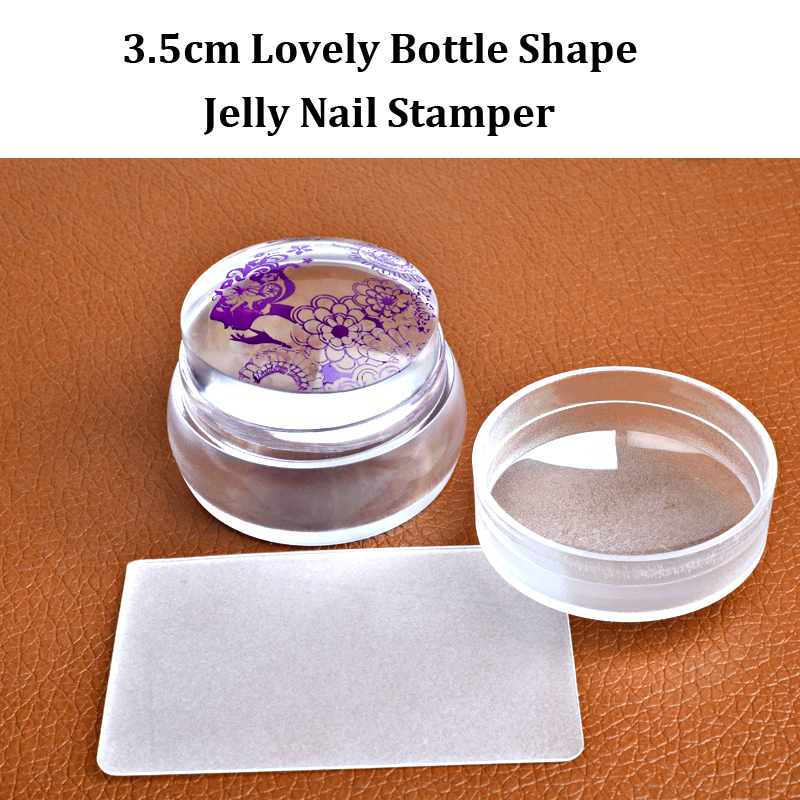 New Nail Art Templates Pure Clear Jelly Silicone Nail Stamping Plate Scraper With Cap Transparent 2.8cm Nail Stamp Nail Art Driving A Roaring Trade Nail Art