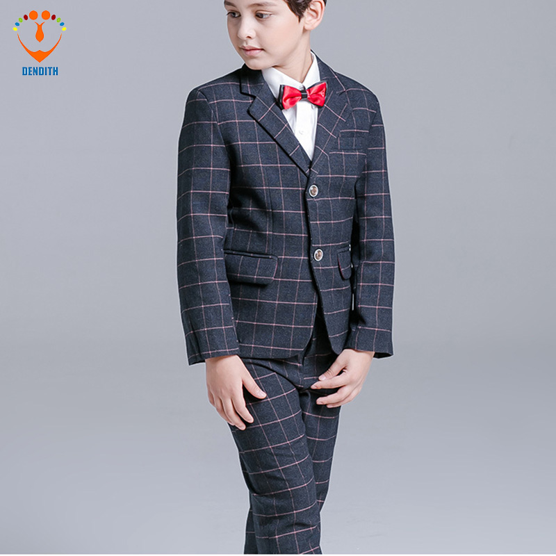 5 Pcs/Set New Arrival Fashion Boy plaid Suit For Wedding Prom Formal Black plaid Dresses Wedding Boy Suits formal tian qiong black double breasted suit men custom made plaid slim fit wedding groom dress suits for men costume homme 3 pcs terno