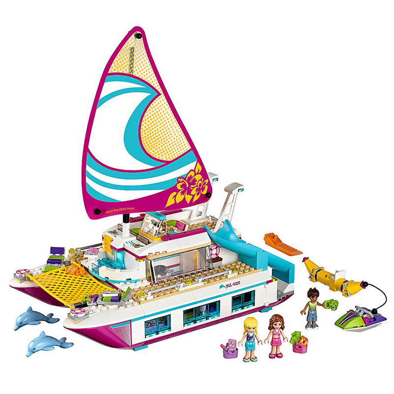 Bela 10760 Friends Series Sunshine Catamaran Sailboat Surfing Model Building Block Bricks Compatible With Legoings FriendsBela 10760 Friends Series Sunshine Catamaran Sailboat Surfing Model Building Block Bricks Compatible With Legoings Friends