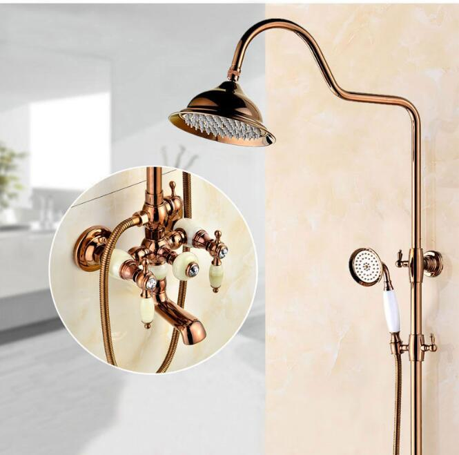 Luxury NEW Antique Rainfall Shower Set Faucet + Tub Mixer Tap + Hand held Shower Rose Gold Luxury Bath and shower faucet set