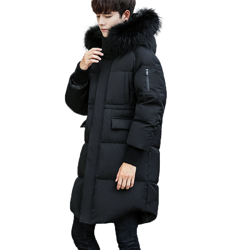 2017 New Long Winter White duck down Jacket With Fur Hood Men's Clothing Casual Jackets Thickening Parkas Male Big Coat цены онлайн