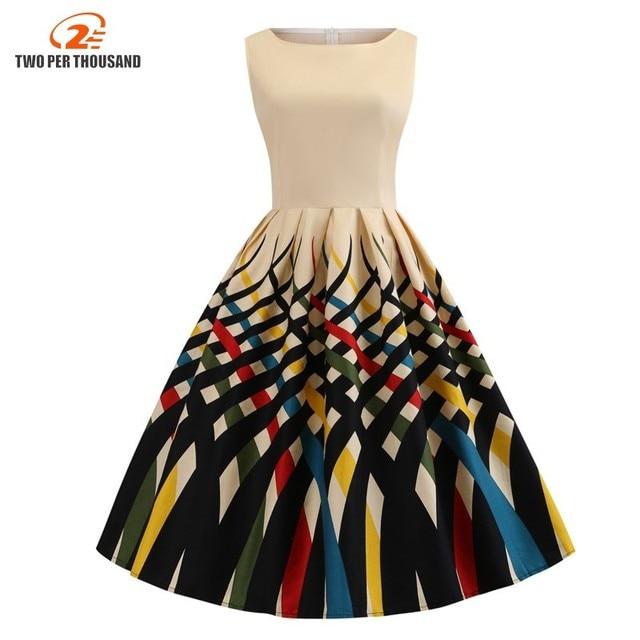 L-4XL Women Cotton Vestido Multicolored Print Vintage Dresses Large Sizes  3XL Pin Up Pleated Dress Midi Plus Size Chic Dress 20f3dccd134f