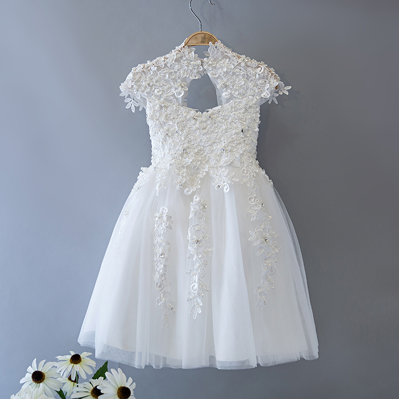 Beading Flower Girl Dresses Appliques Short Princess Dress Lace Ball Gown Kids Pageant Dress for Wedding Birthday Party fancy straps appliques beading short prom dress
