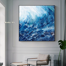 100% handpainted oil painting Abstract Sea Painting For Living Room Modern Wall Decorative wave Pictures Artwork Canvas No Frame