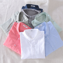 Men Spring And Autumn Fashion Brand Japan Style Vintage Simple Solid Color Cotton Linen Long Sleeve Shirt Male Casual Thin Shirt