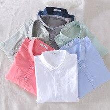 الرجال الربيع والخريف موضة العلامة التجارية اليابان نمط Vintage بسيط بلون القطن الكتان قميص طويل الأكمام الذكور قميص رقيقة عادية