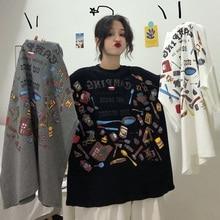 Летние женские футболки больших размеров harajuku с коротким рукавом женская футболка с буквенным принтом Ulzzang Корейская Свободная Повседневная футболка Топы