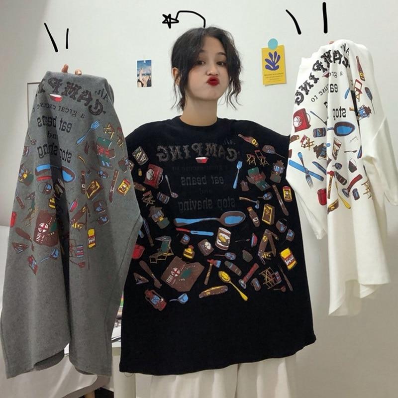 2019 Summer Oversize Women T-shirts Harajuku Short Sleeve Tshirt Female Ulzzang Letter Printing Korean Loose Casual T Shirt Tops