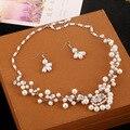 Бесплатная Доставка Невесты Ручной Rhinestone Свадебная Ожерелье Серьги Ювелирные Наборы Свадебные Аксессуары Перлы Свадебные Наборы