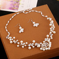 Free Shipping Bride Handmade Rhinestone Bridal Necklace Chain Earrings Jewelry Sets Wedding Accessories Style Pearl Bridal Sets