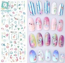 Rocooart DS331 Water Transfer Nails Art Sticker Harajuku Elements Colorful Golden Fish Nail Wraps Sticker Manicura Decal