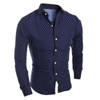 Hot Spring Autumn Mens Shirt Cotton Star Prints Long Sleeve Casual Slim Shirt Plus Size M