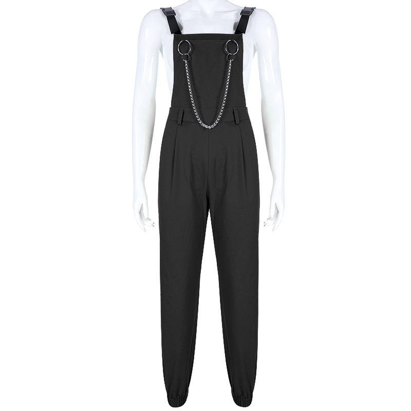 NCLAGEN Stylish jumpsuit Pockets Overalls Chains Buckles Women Suspenders Trousers Loose Streetwear Capris Female Casual Pants 35