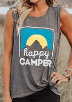 Plus Size Tank Tops Women Fashion Sunrise Mountain Print Tank Letter Happy camper O-Neck Gray Tank Female Casual Ladies Tops Tee