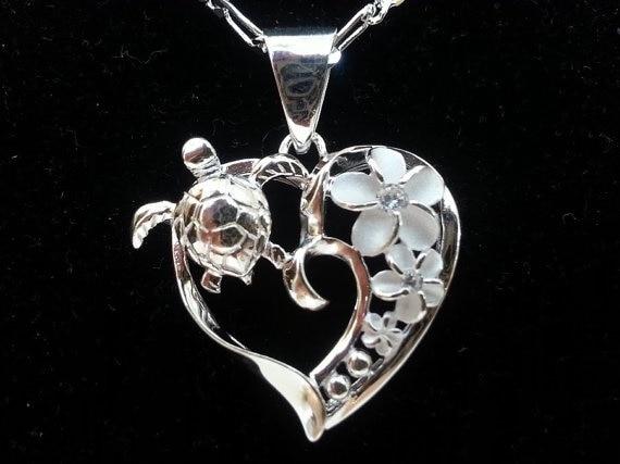ADARJW2019 теперь Серебряное сердце Гавайская Морская Черепаха, цветок плюмерии ожерелье! Морской ожерелье с черепашкой! Ожерелье с черепашкой. ...