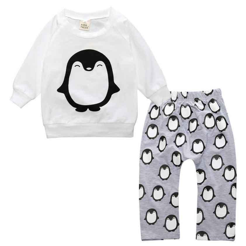 2017 autumn baby boy clothes set infant clothing cotton long-sleeved letter T shirt + plaid pants clothing set newborn baby girl