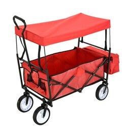 Panana גן Wagon ילדי ילדים למשוך יחד עגלת עגלת קרוואן תחבורה בחוץ מהיר חינם 4 גלגלים