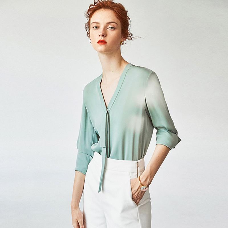 Блузка женская, однотонная, из 100% шелка, с треугольным вырезом и длинными рукавами, 2 вида цветов