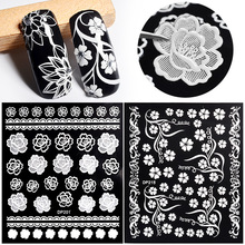 White Flowers Lace 3d Nail Stickers Decals Self Adhesive DIY Charm Design Manicure Nail Art Decorations